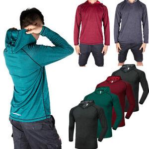 Mens Muscle Hooded Hoodie Long Sleeve T Shirt Gym Slim Fit Casual Sports Tops