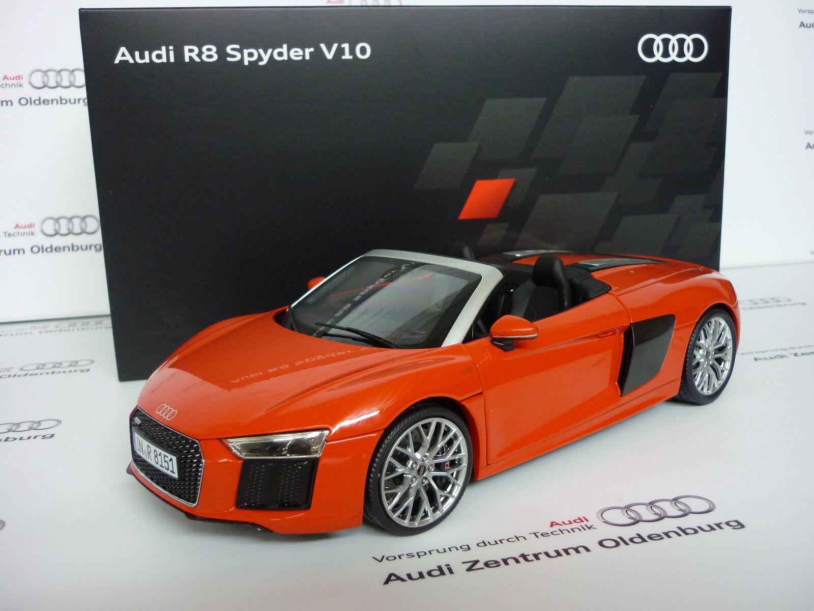 Audi r8 spyder v10 original audi modellauto angelegt haben dynamitrot 1,18, audi - sport