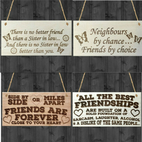 Home Friendship Sign Wooden Ornaments Heart /& Thank You Shabby Hanging Gift KS