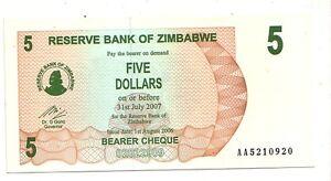 Zimbabwe-5-dollars-2007-bearer-cheque-FDS-UNC-pick-38-lotto-3605