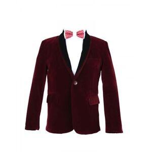 Boys-Burgundy-Velvet-Blazer-with-Black-Contrast-Shawl-Lapel-Wedding-Party-Blazer