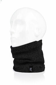 Mens Heat Holders Thermal 2.6 tog Fleece Knitted Snood Scarf Neck Warmer Black