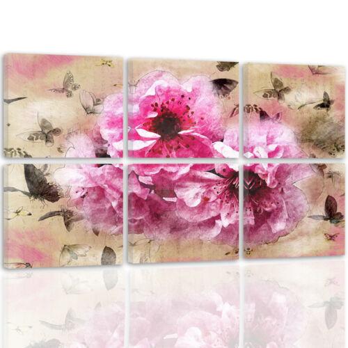 TOP LEINWAND BILD BILDER 54 Muster MODERN HD ART Rosa Beige Blumen 2569