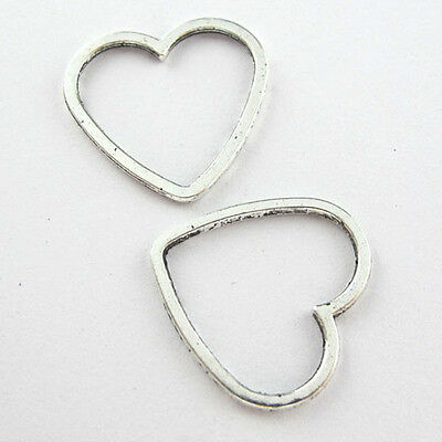 30Pcs Antiqued Silver Hollow Heart Ring Charm Pendant Connector 24x25mm L498-01