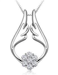 7 Zirkonia-925er Sterling Silber Anhänger mit Halskette Silberkette Kette Damen