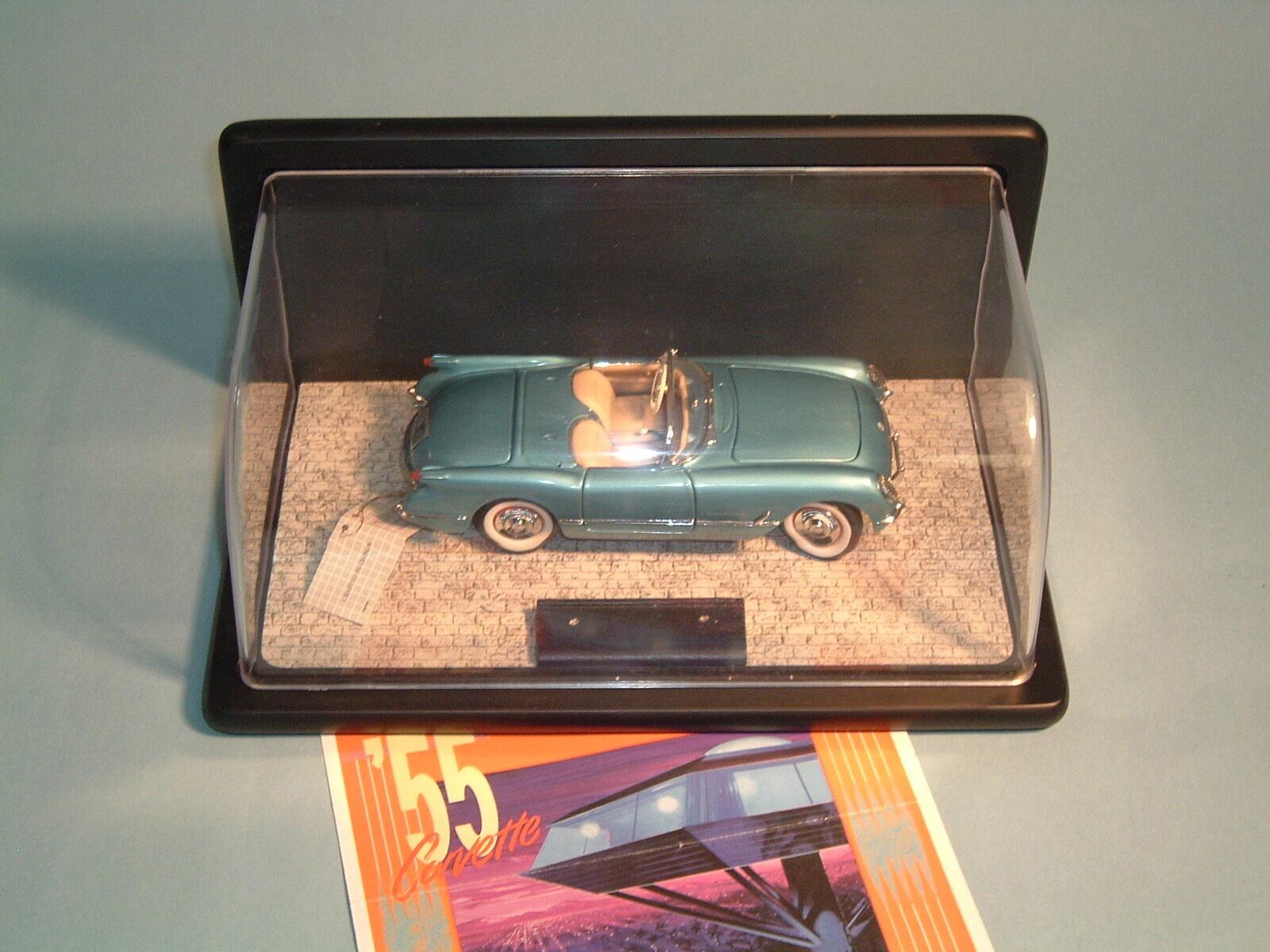 CORVETTE 1955 CHEVROLET PENNANT blueE CORVETTE FRANKLIN MINT 1 24 DIECAST & DSPLY