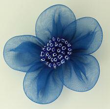 5 X Large Organza Flowers Sew On Appliques   Colour: Blue   #2