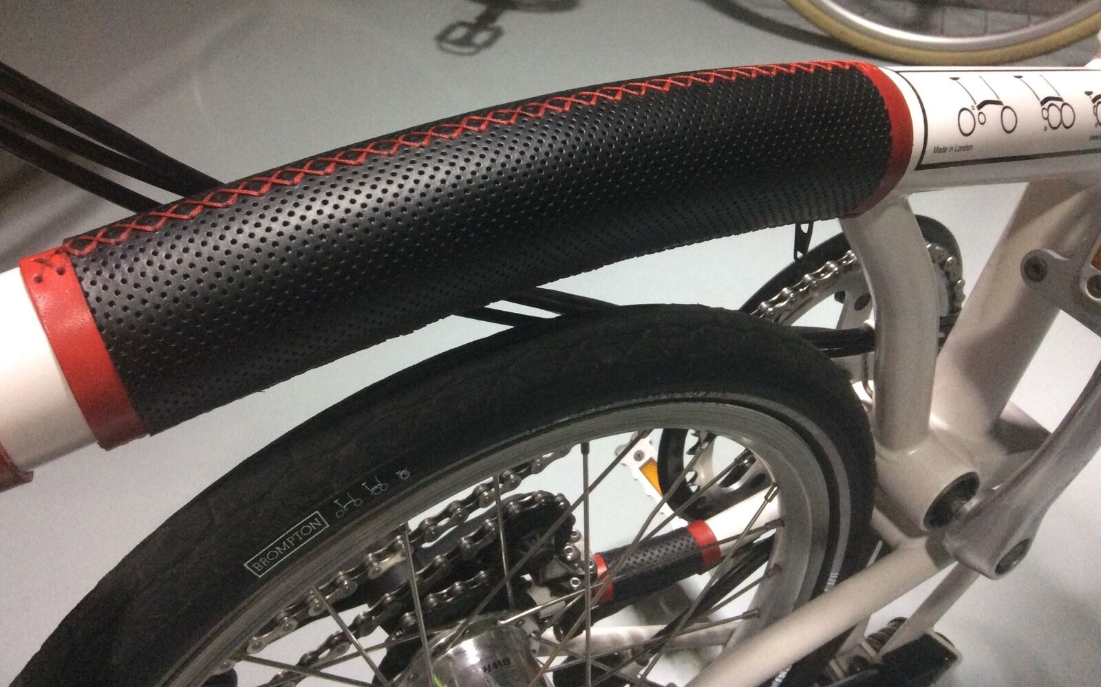 Genueine perforate leather frame predection for Brompton  Zipper install.