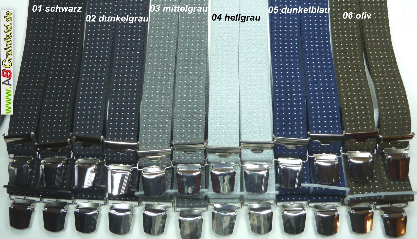 Hosenträger, 4 breite extra starke ABC-Clips, 35 mm breit, 70 cm-200 cm lang