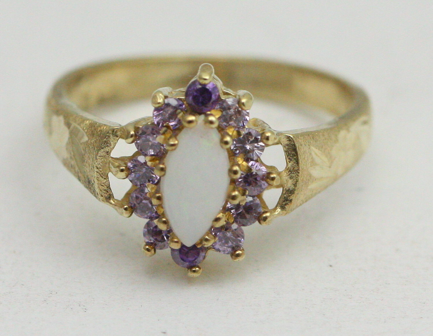 BJC® 9ct Yellow gold Amethyst & Opal Marquise Cluster Dress ring R276