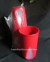 Tupperware Set Of 4 Red Clear Impressions Cups Tumblers 16 Oz Rare