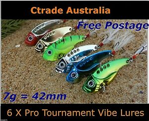 Vibe-Fishing-Lures-Switch-blade-Lure-6-Pack-42mm-7g-Pro-Vibes-Bream-Flathead-A1