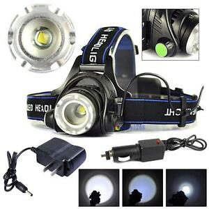 8000LM-Zoomable-XM-L-T6-HeadLamp-HeadLight-Rechargeable-AC-Car-Charger-GA