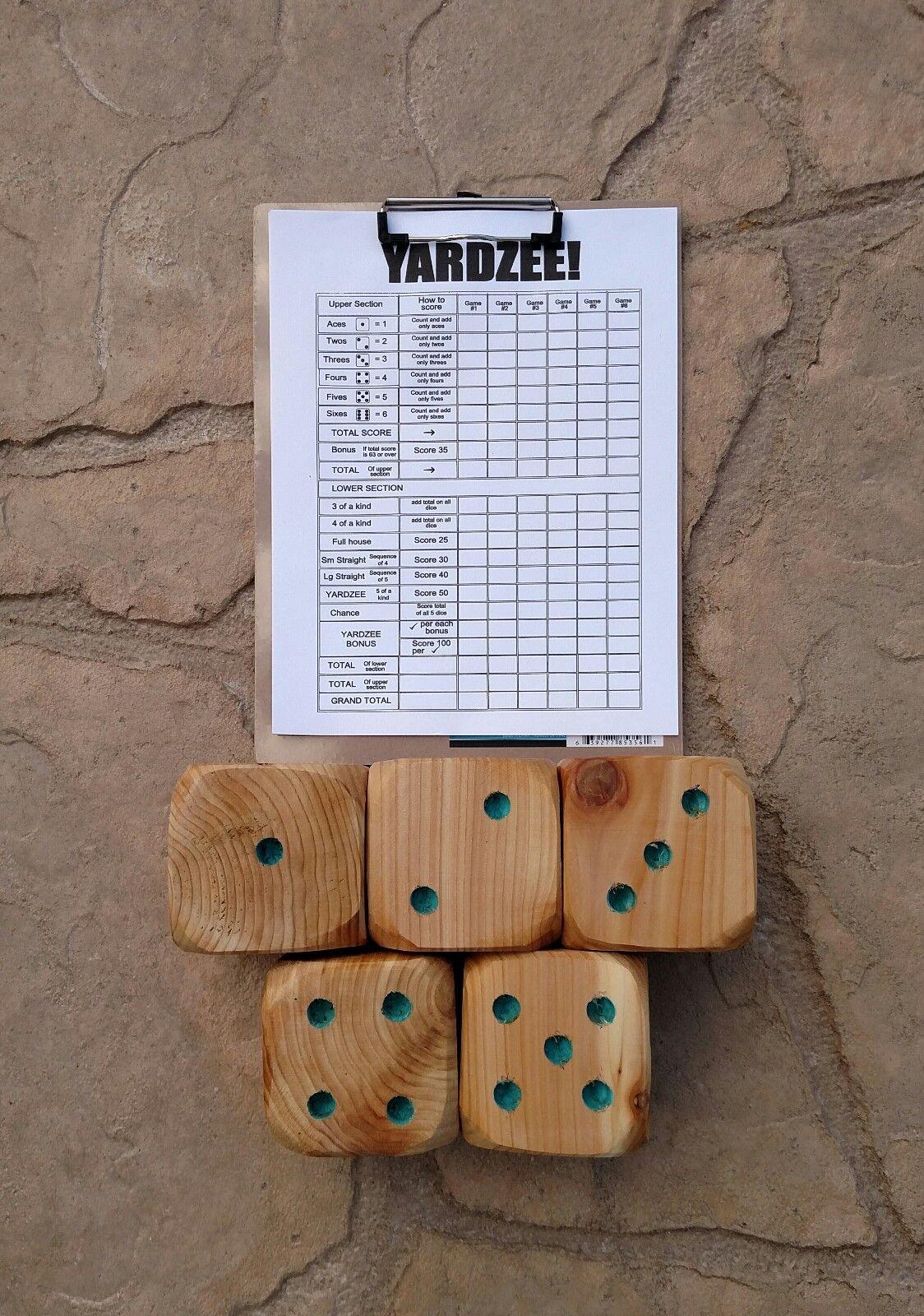 Handmade Turquoise Yardzee Outdoor Game 5 Dice Clipboard Score Sheets Family Fun