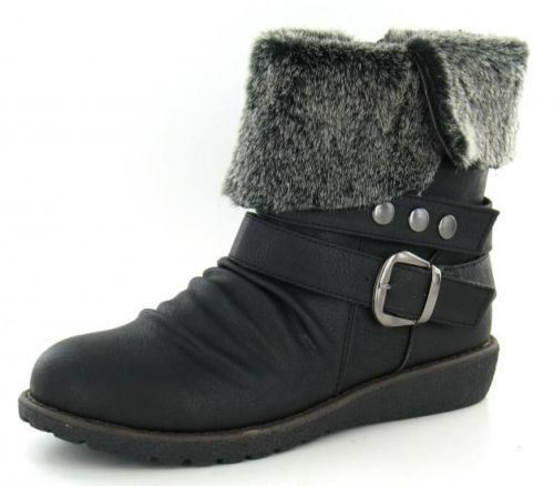 Down To Earth F5845 Ladies Black Warm Lined Synthetic Ankle Boots