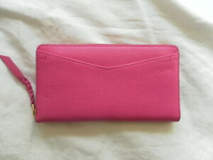 408174445aea NEW AUTH FOSSIL RFID CAROLNE ZIP COLOR HOT PINK LEATHER WOMENS ...