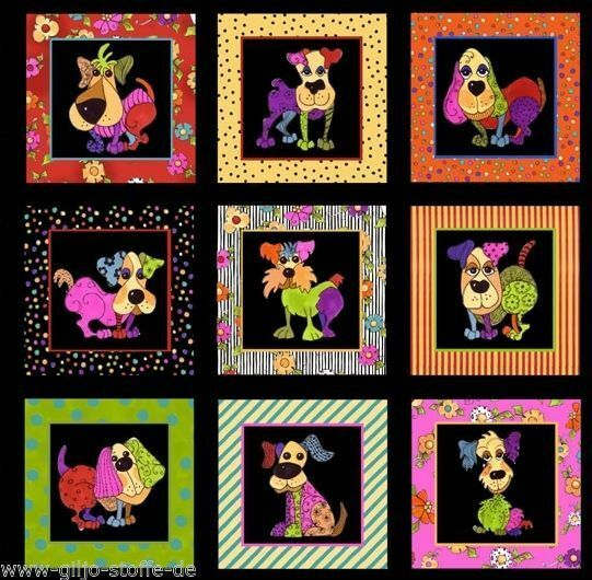 Loralie Dog Happy Panel Patchworkstoffe Stoffe Hunde Patchwork Tiere Baumwolle