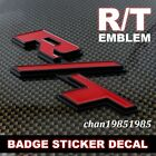 R/T RT Metal Grill Red Black Rear Emblem Badge Sticker For Dodge Challenger Jeep