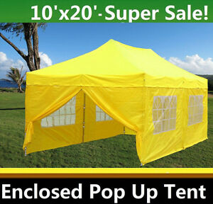 Image is loading 10-039-x20-039-Enclosed-Pop-Up-Canopy-  sc 1 st  eBay & 10u0027x20u0027 Enclosed Pop Up Canopy Party Folding Tent Gazebo - Yellow ...