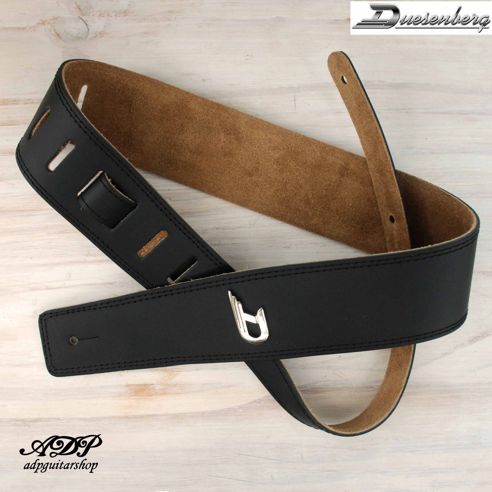 Sangle Courroie cuir schwarz Duesenberg Guitare ou Basse Dchrom 160cm Leather Strap