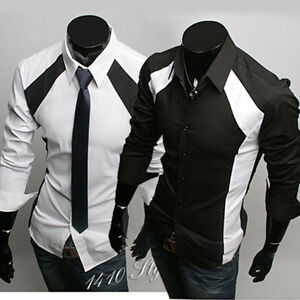 New-Mens-Casual-Luxury-Stylish-Dress-Slim-Shirts-ST36