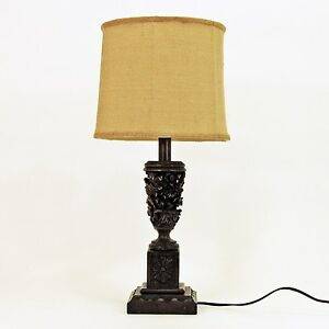 Hand Carved Wooden Table Lamp With Burlap Drum Shade 25