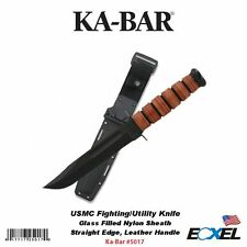 KA-BAR #5017 USMC Fighting/Utility Knife,Glass Filled Nylon Sheath,Straight Edge