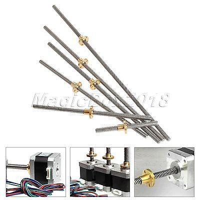 T8-2-D8 8mm 3D Printer Lead Screw Rod Linear Rail Bar Shaft 100-400mm /&Brass Nut