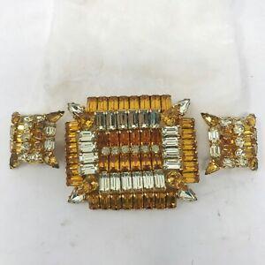 Vintage-Kramer-Brooch-Pin-Earrings-Set-Clear-Amber-Prong-Set-Rhinestones-Square