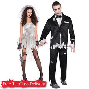 Image is loading Halloween-Bride-Groom-Idea-Couples-Costume-Adult-Fancy-  sc 1 st  eBay & Halloween Bride Groom Idea Couples Costume Adult Fancy Dress Walking ...