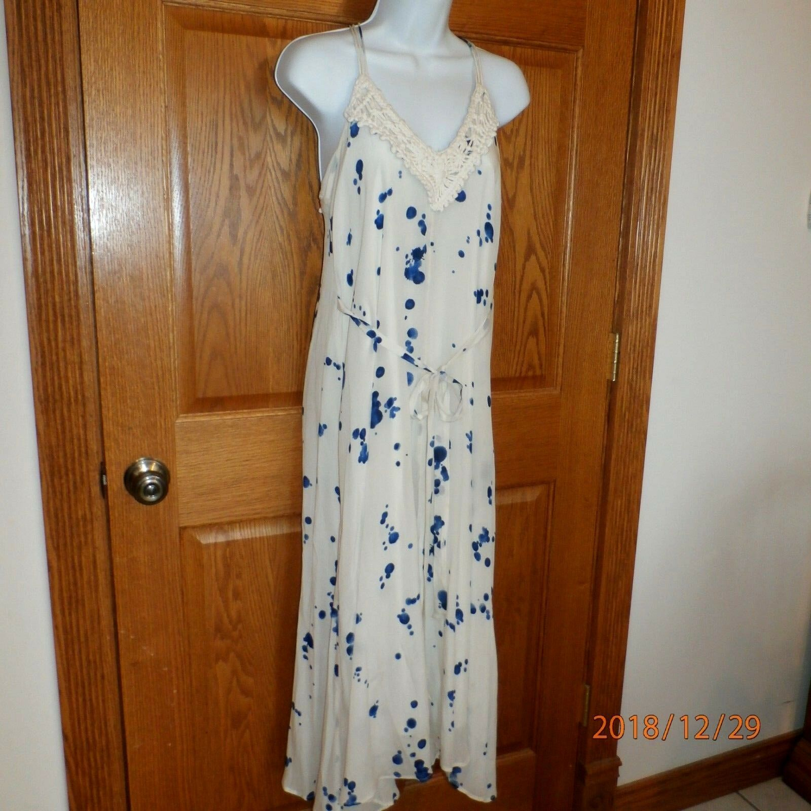 Anthropologie Maeve ivory & bluee Maxi Midi Crochet Yoke Dress XS xsmall A894