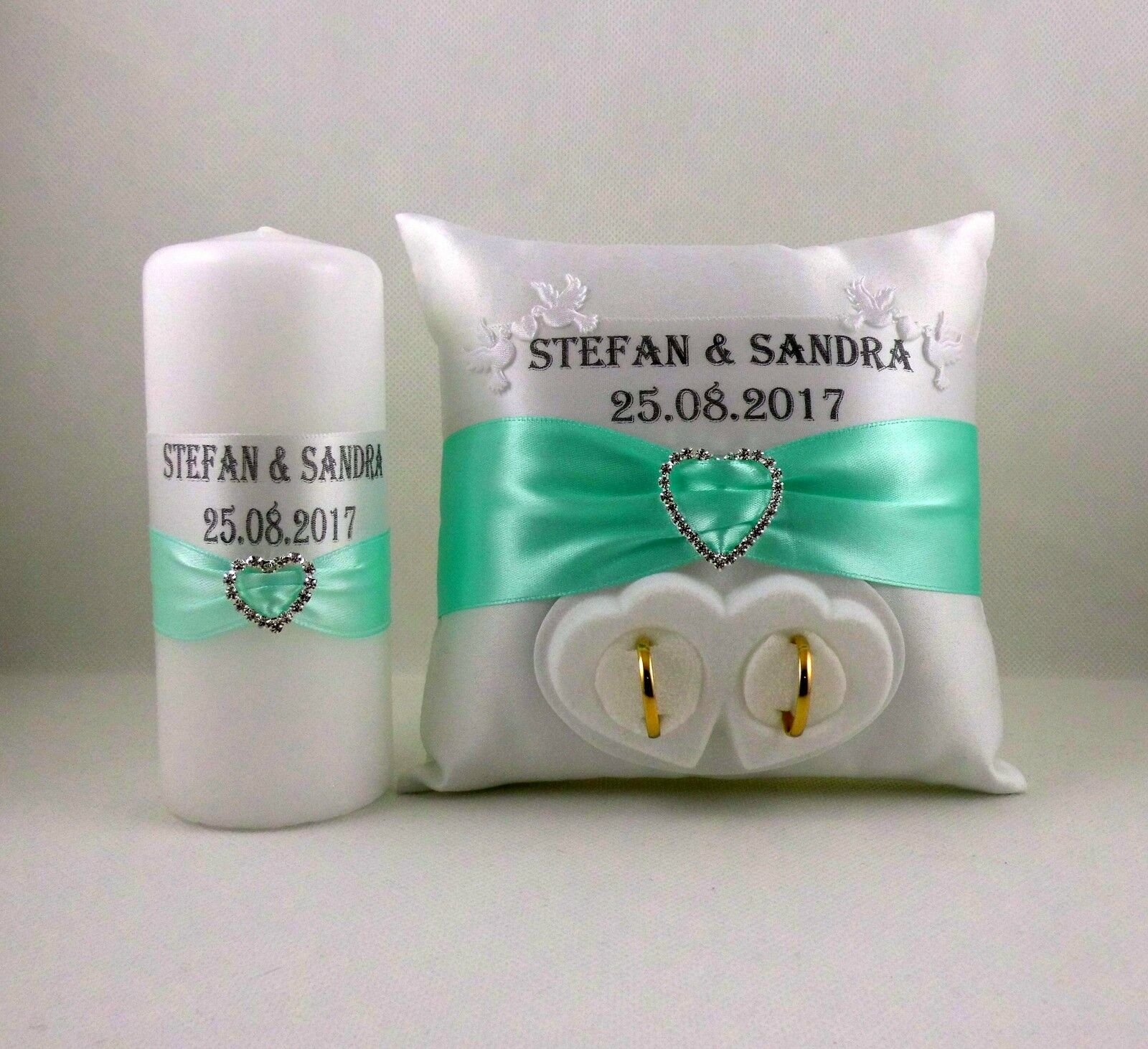 Ringpillow With Name And Date, Box For Wedding Ring Candle Set Of