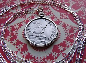 1954-1957-French-Maiden-100-Franc-Pendant-on-a-30-034-925-Sterling-Silver-Chain
