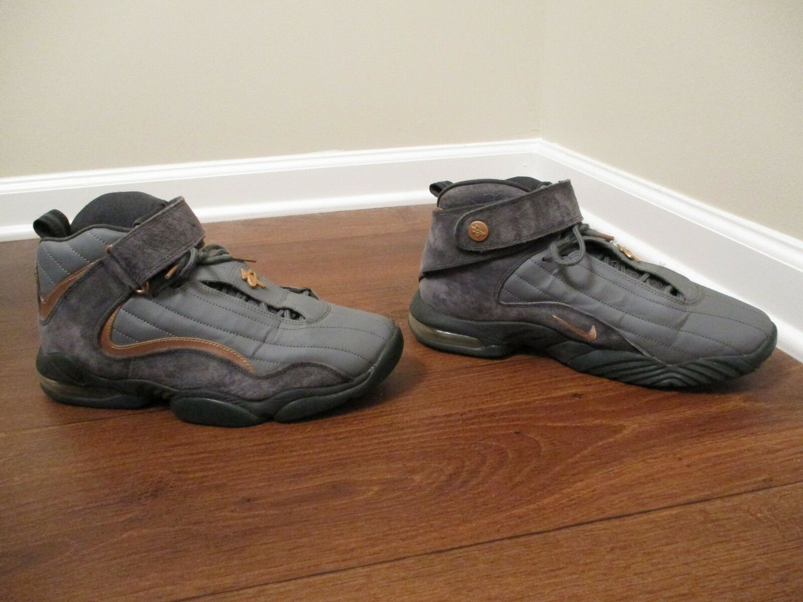 Used Worn Size 10 Nike Air Penny 4 IV shoes Wolf Grey & Metallic Coppertone