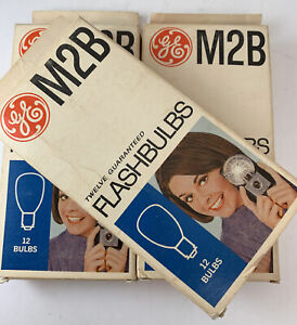 Lot of 3 (12) GE M2B USA Photoflash Blue Unfired Flash Bulbs - Vintage NEW NOS