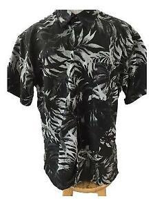 Van Heusen Studio mens Hawaiian shirt Size XL 17 17.5 black gray leaf pattern