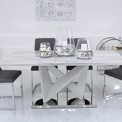Blanche Marble Effect Dining Room Kitchen Table Chrome Base 180cm X 100cm Ebay