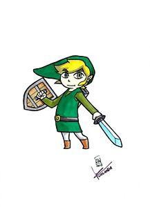 Link Dessin Original Art Sketch Legend Of Zelda Par J H Wzgarda