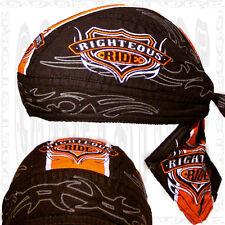 Black-Orange Righteous Head Wrap Du Buy Doo Skull Cap Do-Rag Hat Bandana Biker