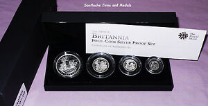 2009 ROYAL MINT SILVER PROOF BRITANNIA FOUR COIN COLLECTION - FULL PACKAGING