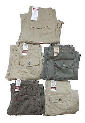New Levis Men's Loose Straight Fit ACE Cargo Pants Army Green Beige Tan NWT
