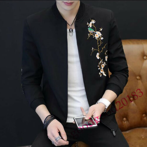 Men Hot Tops Flight Bomber Jacket Slim Fit Floral Emboridered Punk Gothic Coat