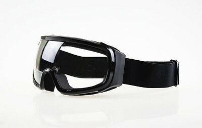 Ski Snowboard Snowmobile Motorcycle Goggles Off-Road Clear Lens Black