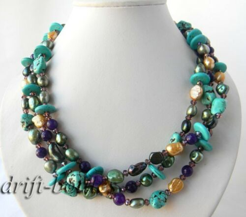 3Strands 19/'/' Green Champagne Freshwater Pearl Turquoise Crystal Jade Necklace
