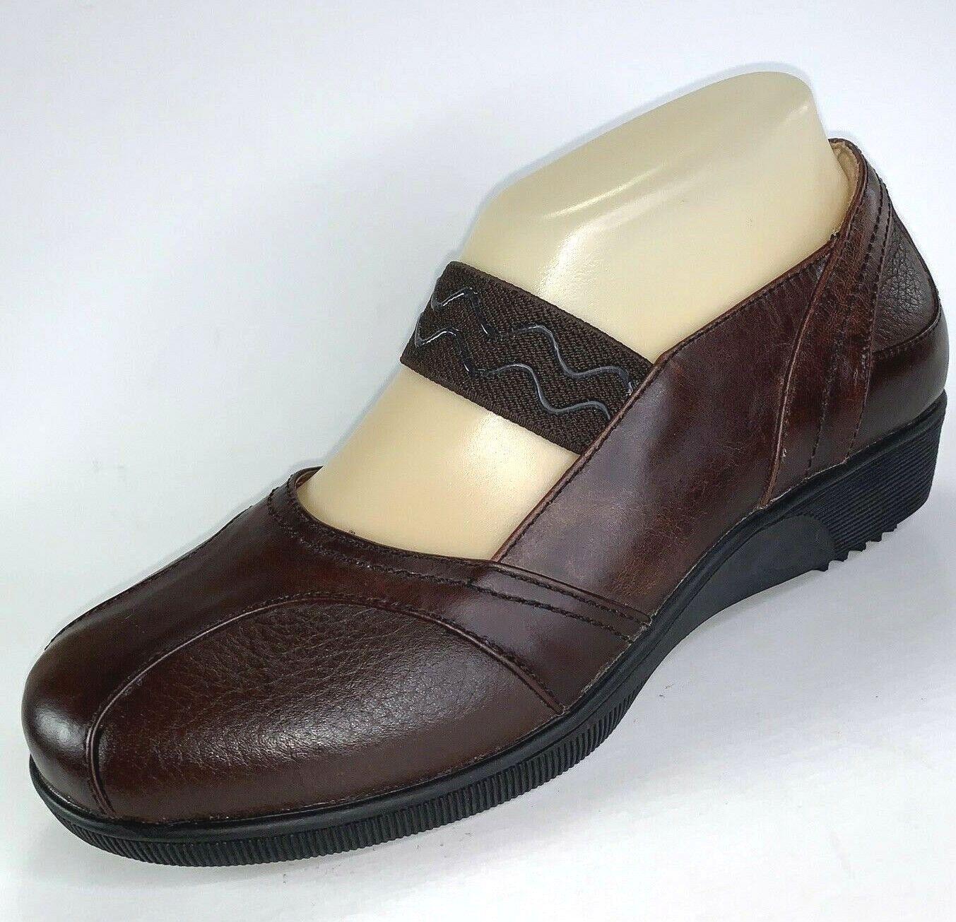 Gravity Defyer femmes 6.5 Mary Jane chaussures en Cuir marron Compensé Mocassin 150   porté Onc