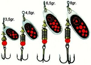 Mepps Black Fury Fluorescent Red Dot Spinner in Choice of Tail, Size & Weight
