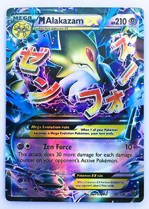 Alakazam 118//124 Gold Mega EX Card Pokemon Collection Plastic Card Free 2 EX