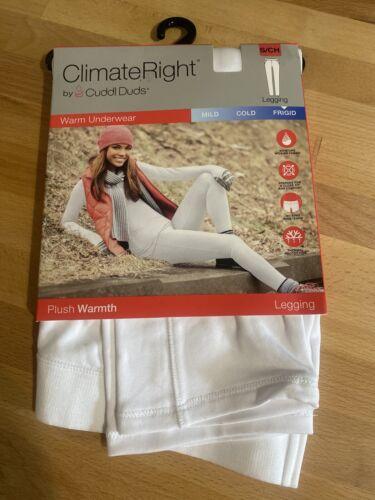 White Frigid 6-8 Climate Right Cuddl Duds Plush Warmth Leggings Womens Small