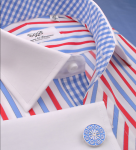 Red-White-Blue-Formal-Business-Dress-Shirt-Striped-Checkers-USA-2x-Contrast-Cuff