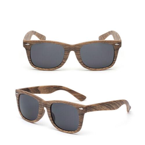 Womens Vintage Sunglasses 1980s Mens Square Wood Pattern Shades Retro Glasses